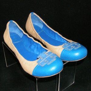 Tory Burch 'Carita' blue cap toe weave flats 9M